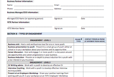 Check out the YETE Sign Up Form for Employers